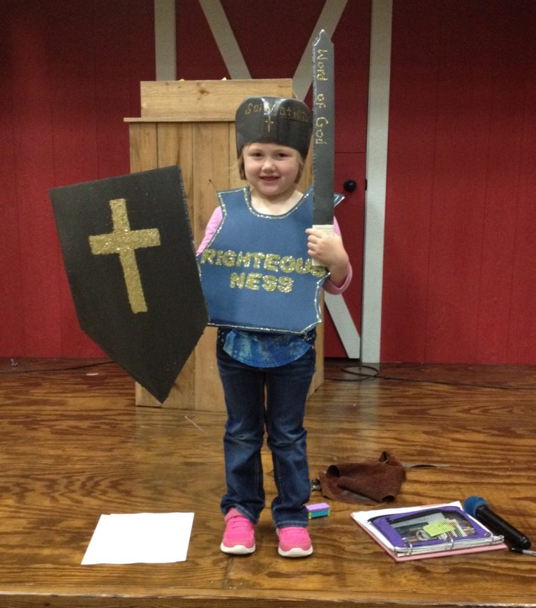 Little Girl wearing the armour of God